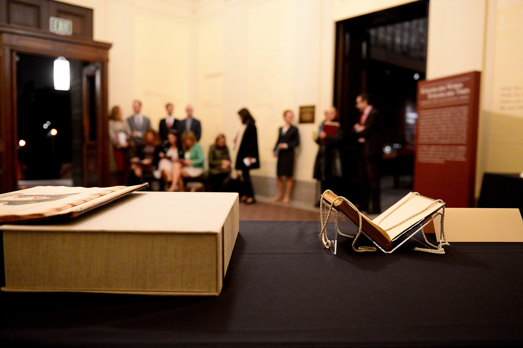 . The Spanish press wait for The Crown Prince Felipe and Princess Letizia of Spain in The Huntington Library\'s Exhibition Hall as they visit the Junipero Serra exhibition in San Marino Saturday night, November 16, 2013. (Photo by Sarah Reingewirtz/Pasadena Star-News)
