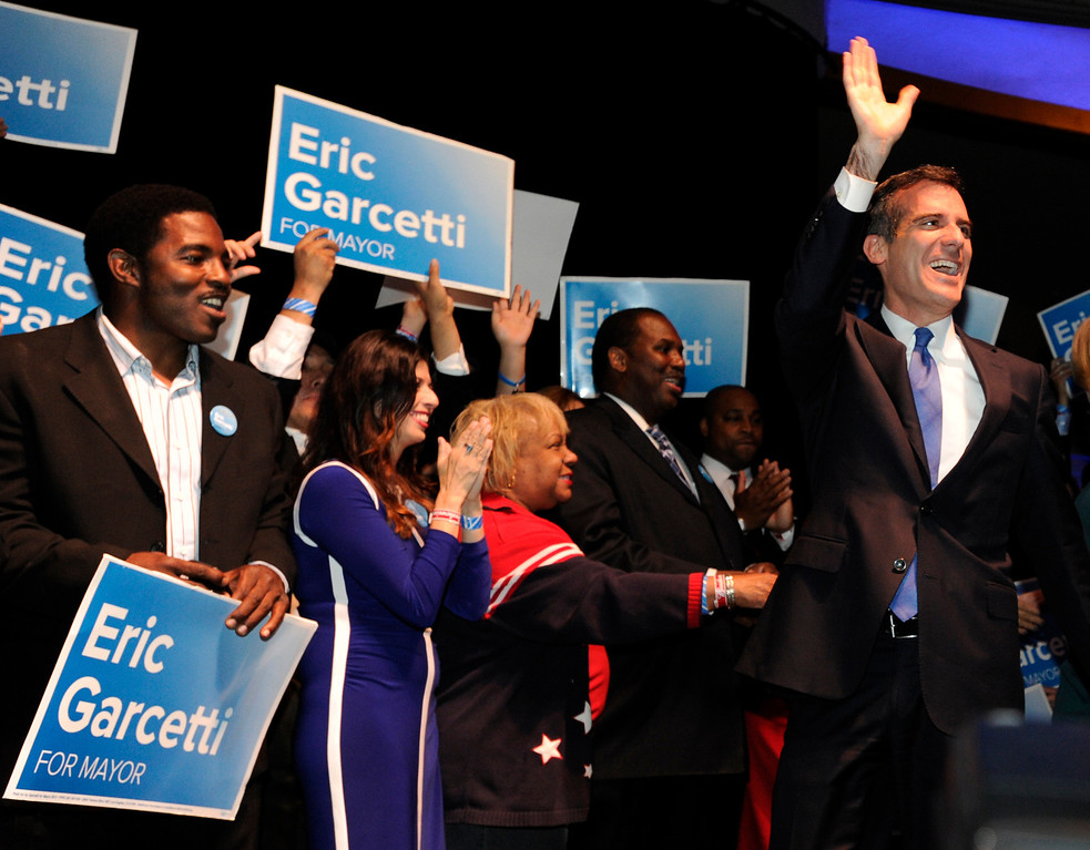 . Los Angeles Mayoral candidate Eric Garcetti enters the stage for his speech. Garcetti held his election night party at The Hollywood Palladium where supporters showed hear him speak. Hollywood, CA 5/22/2013(John McCoy/LA Daily News)