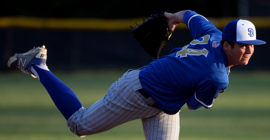 . San Dimas starting pitcher Peter Lambert (C) throws to the plate against Bonita in the first inning of a prep baseball game at Bonita High School in La Verne, Calif., on Wednesday, March 19, 2014.  (Keith Birmingham Pasadena Star-News)