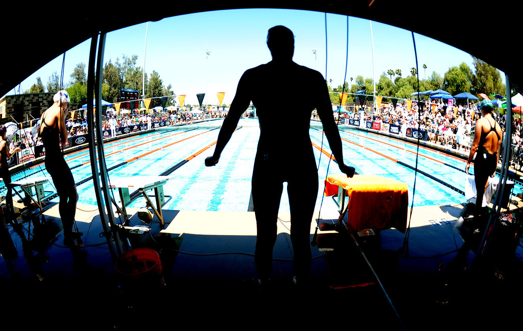 . A swimmer prior to the start of the 100 yard butterfly during the CIF-SS Division II swim finals at Riverside City College on Saturday, May 11, 2013 in Riverside, Calif.  (Keith Birmingham Pasadena Star-News)