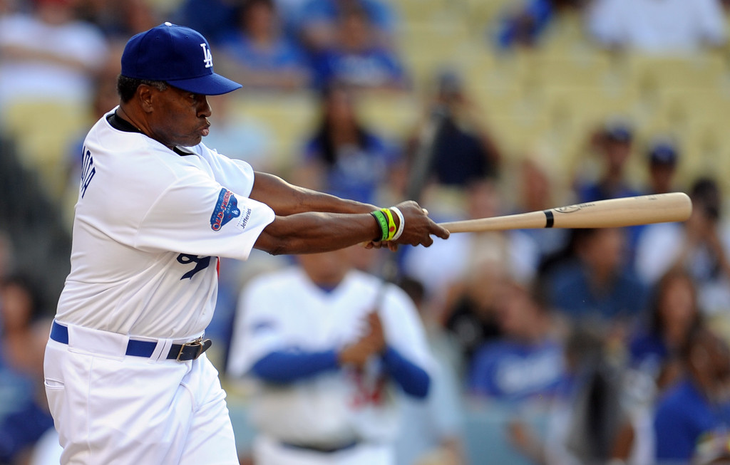 . Former Los Angeles Dodgers Manny Mota during the Old-Timers game prior to a baseball game between the Atlanta Braves and the Los Angeles Dodgers on Saturday, June 8, 2013 in Los Angeles.   (Keith Birmingham/Pasadena Star-News)
