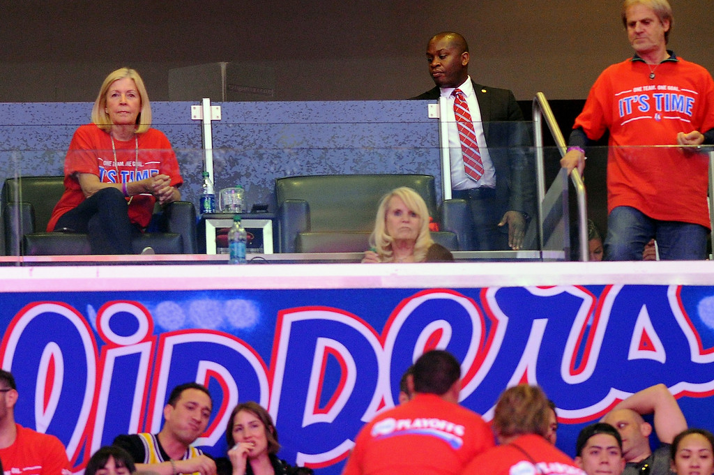 . Shelly Sterling, seated front, watches the Clippers-Thunder game, Thursday, May 15, 2014, at Staples Center. (Photo by Michael Owen Baker/Los Angeles Daily News)