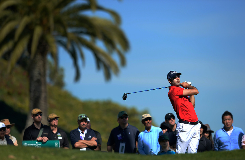 . Cameron Tringale hits from the 3rd tee during the second round of the Northern Trust Open. Pacific Palisades, CA. February 13, 2014 (Photo by John McCoy / Los Angeles Daily News)