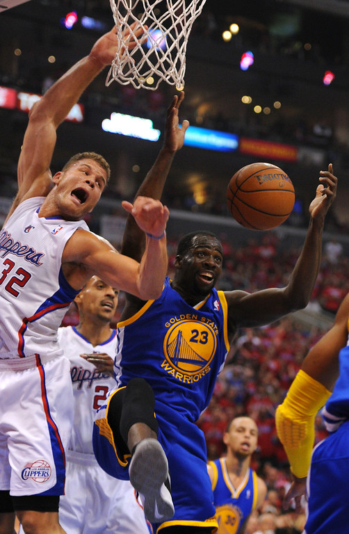 . The Clippers\' Blake Griffin and the Warriors\' Draymond Green battle for a rebound in game seven of the Western Conference playoffs, Saturday, May 3, 2014, at Staples Center. (Photo by Michael Owen Baker/L.A. Daily News)