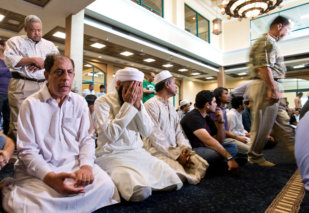 """. Muslims pray during the the \""""Jumah\"""" (Friday Congregational Prayer) at new Islamic Center of San Gabriel Valley in Rowland Heights on Friday, July 5, 2013. (SGVN/Staff photo by Watchara Phomicinda)"""