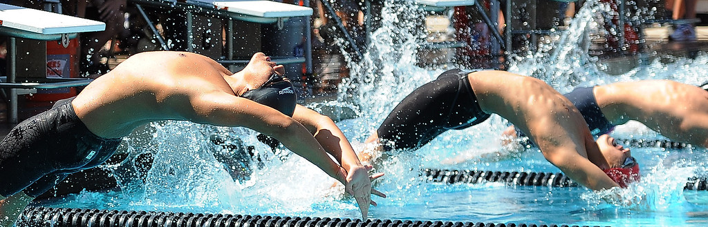 . The start of the 200 yard medley relay during the CIF-SS Division II swim finals at Riverside City College on Saturday, May 11, 2013 in Riverside, Calif.  (Keith Birmingham Pasadena Star-News)