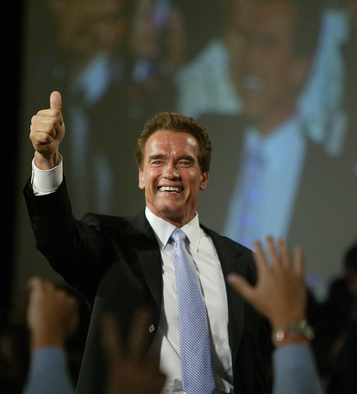 . Arnold Schwarzenegger gives thumbs up.   David Sprague/L.A. Daily News