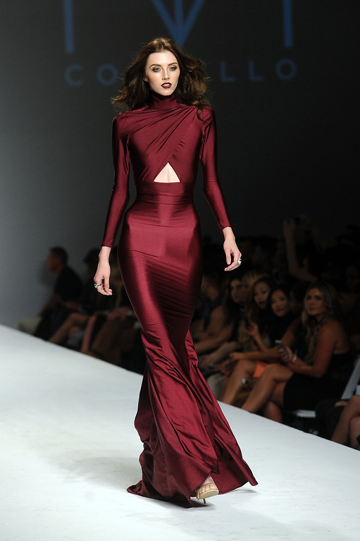 . A model walks the runway at the MT Costello fashion show during L.A. Fashion Week March 10, 2014 in Los Angeles, CA.(Andy Holzman/Los Angeles Daily News)