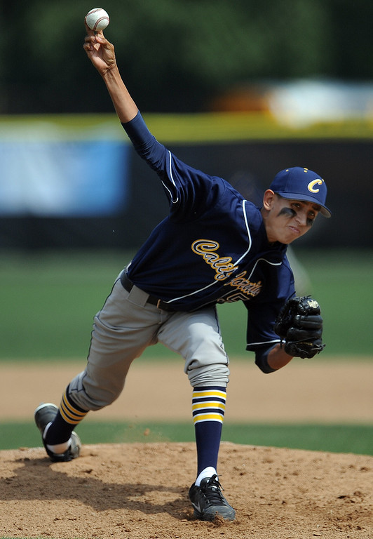 . California starting pitcher Daniel Alvarez throws to the plate in the first inning of a CIF-SS playoff baseball game against La Canada at La Canada High School on Thursday, May 16, 2013 in La Canada, Calif. La Canada won 4-2.  (Keith Birmingham Pasadena Star-News)