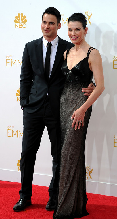 . Keith Lieberthal (L) and actress Julianna Margulies on the red carpet at the 66th Primetime Emmy Awards show at the Nokia Theatre in Los Angeles, California on Monday August 25, 2014. (Photo by John McCoy / Los Angeles Daily News)