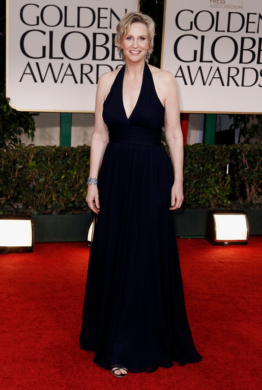 . Jane Lynch arrives at the 69th Annual Golden Globe Awards Sunday, Jan. 15, 2012, in Los Angeles. (AP Photo/Matt Sayles)