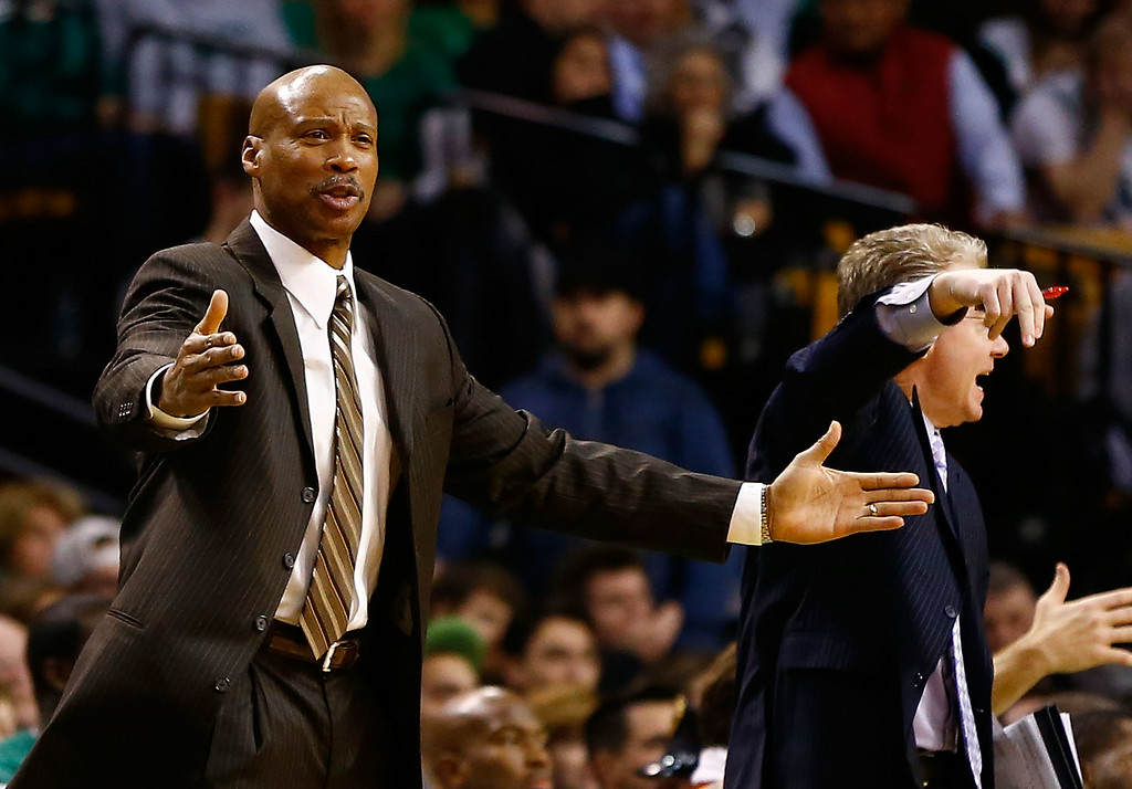 . Head coach Byron Scott of the Cleveland Cavaliers argues with the referees following a goaltending call against the Boston Celtics during the game on December 19, 2012 at TD Garden in Boston, Massachusetts.  (Photo by Jared Wickerham/Getty Images)