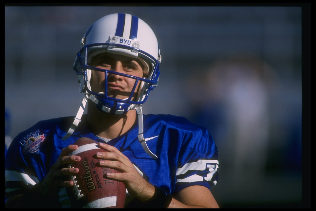 . 7 Dec 1996:  Quarterback Steve Sarkisian of the Brigham Young Cougars looks on during a game against the Wyoming Cowboys at Sam Boyd Stadium in Las Vegas, Nevada.  BYU won the game, 28-25.  Mandatory Credit: Todd Warshaw/Allsport