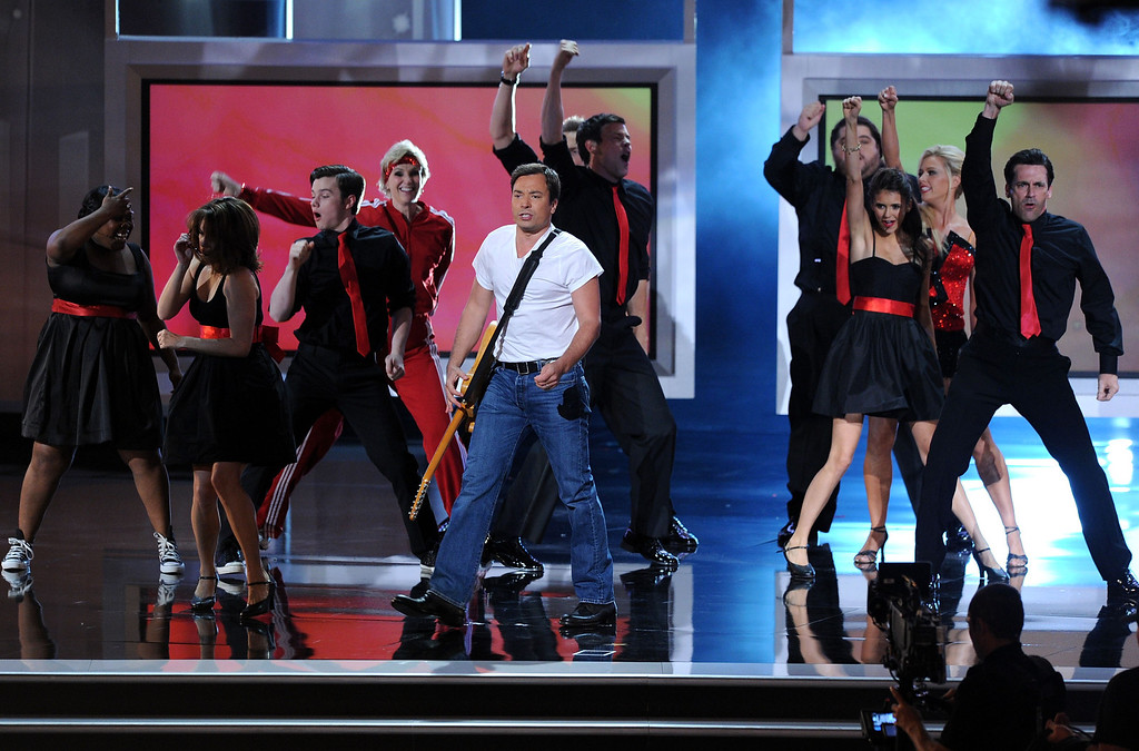 . LOS ANGELES, CA - AUGUST 29:  (L-R) Actors Amber Riley, Tina Fey, Chris Colfer, Jane Lynch, Jimmy Fallon, Cory Monteith, Jorge Garcie, Nina Dobrev, and Jon Hamm perform onstage at the 62nd Annual Primetime Emmy Awards held at the Nokia Theatre L.A. Live on August 29, 2010 in Los Angeles, California.  (Photo by Kevin Winter/Getty Images)