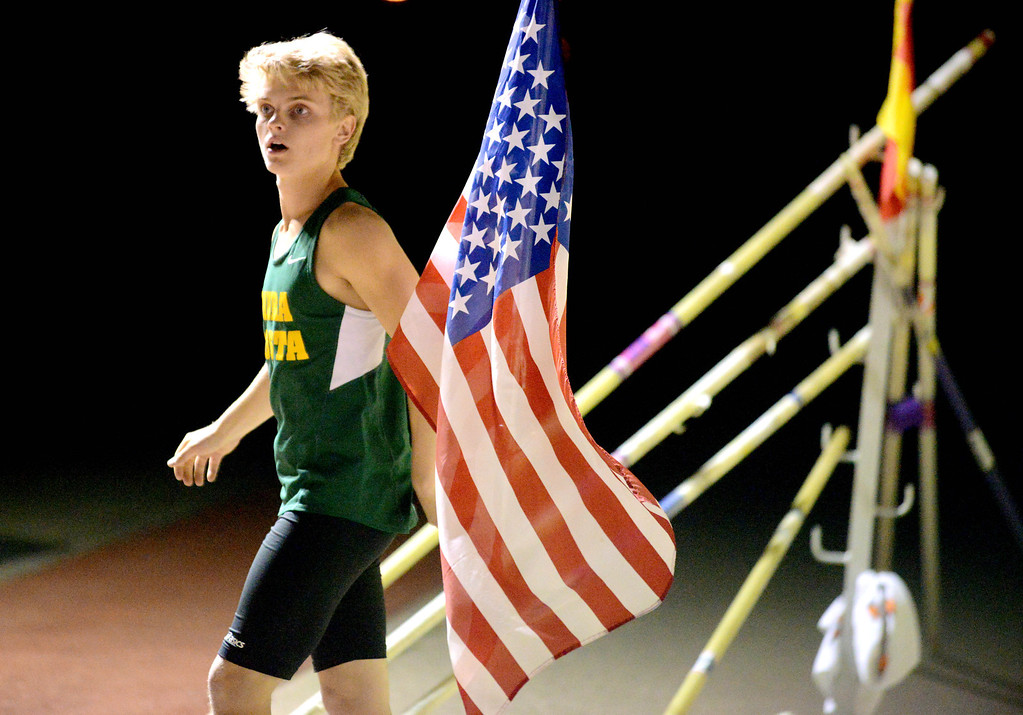 . 05-03-2013-(LANG Staff Photo by Sean Hiller)-  The Bay League track and field finals Friday night at Mira Costa High School. Costa\'s pole vaulter Sean Griffin measures the wind before attempting a run.