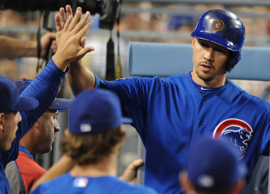 . Cubs Cody Ransom is congratulated in the dugout after he scored in the 6th inning. The Cubs were in town to play the Dodgers. Los Angeles, CA. 8/24/2013(John McCoy/LA Daily News)