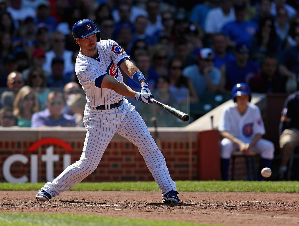 . CHICAGO, IL - AUGUST 04:  Cole Gillespie #2 of the Chicago Cubs grounds out against the Los Angeles Dodgers at Wrigley Field on August 4, 2013 in Chicago, Illinois. The Dodgers defeated the Cubs 1-0.  (Photo by Jonathan Daniel/Getty Images)