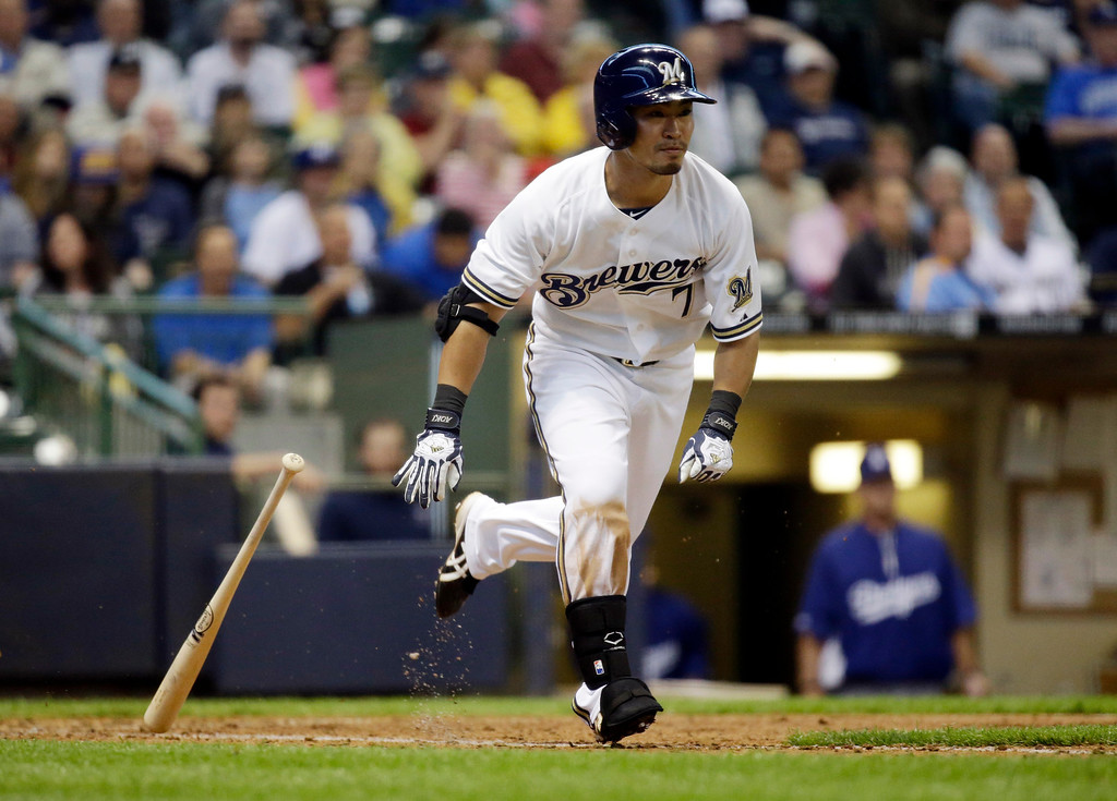 . Milwaukee Brewers\' Norichika Aoki hits during the fifth inning of a baseball game against the Los Angeles Dodgers Wednesday, May 22, 2013, in Milwaukee. (AP Photo/Morry Gash)