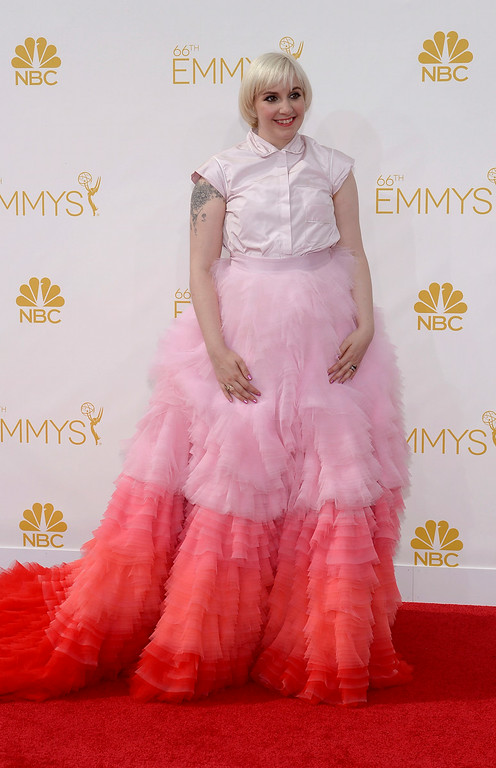 . Lena Dunham on the red carpet at the 66th Primetime Emmy Awards show at the Nokia Theatre in Los Angeles, California on Monday August 25, 2014. (Photo by John McCoy / Los Angeles Daily News)