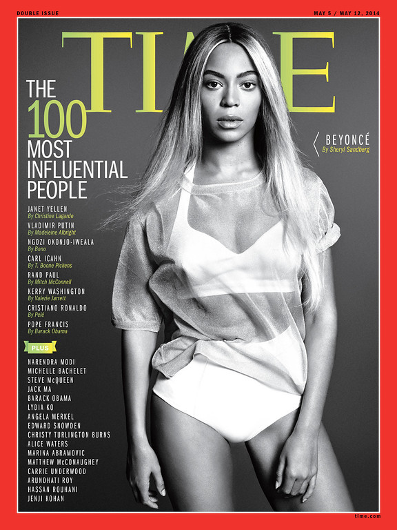 . This image released by Time Inc. shows entertainer Beyonce on the cover of Time magazine\'s 100 most influential people issue. (AP Photo/Time Magazine)