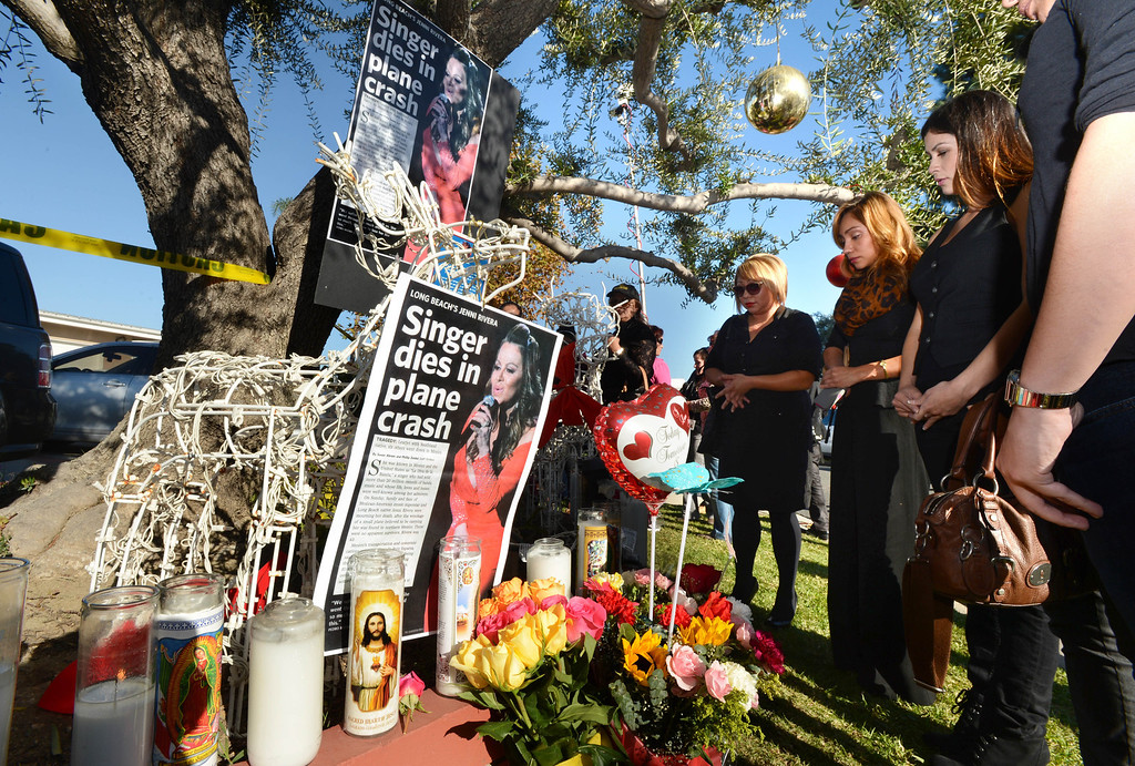 . Lakewood, Calif., --12-10-12 - A vigil at the Lakewood, Calif. home of parents of singer and Long Beach native Jenni Rivera 43, who was killed in plane crash in Mexico Sunday after Rivera had performed a concert in Monterrey, Mexico, on Saturday night. 