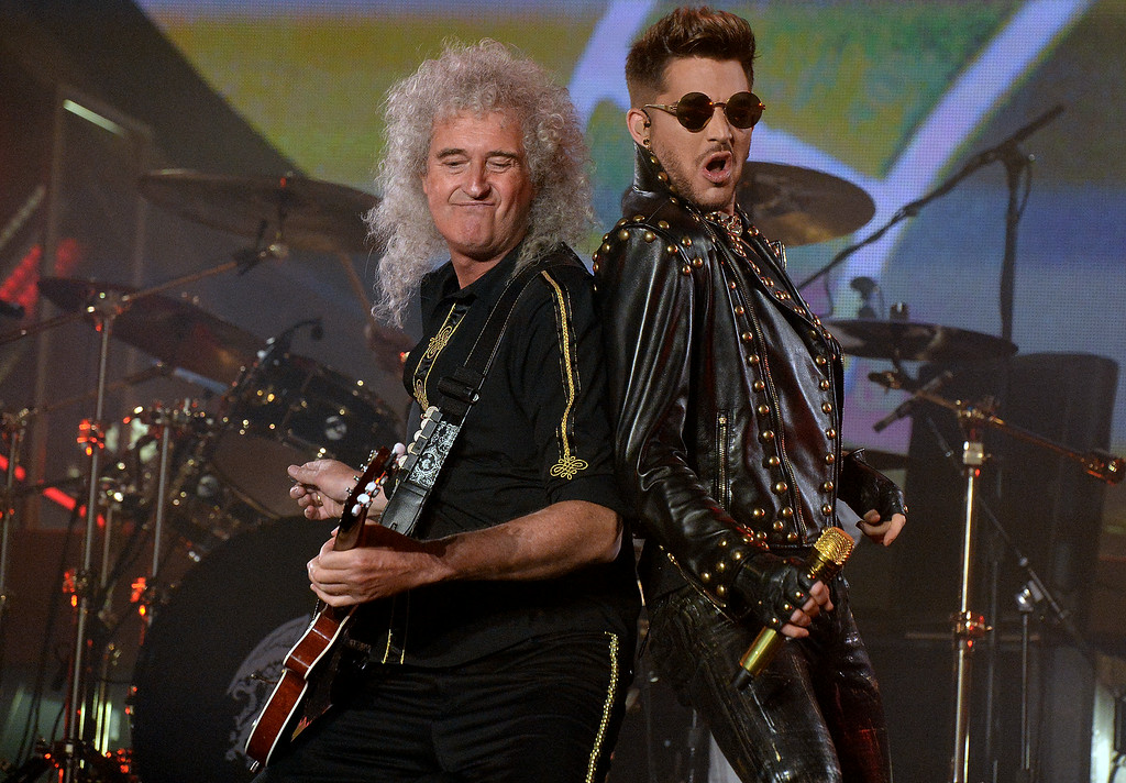 . Adam Lambert performs with Brian May of Queen at The Forum in Inglewood, Calif., on Thursday, July 3, 2014.  (Keith Birmingham Pasadena Star-News)