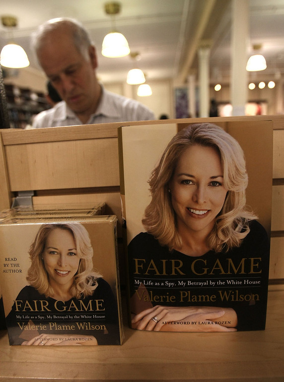 ". NEW YORK - OCTOBER 23:  Copies of former United States C.I.A. officer Valerie Plame Wilson book is on display at a book signing event for her autobiography ""Fair Game\"" at the Union Square Barnes andC Noble October 23, 2007 in New York City. Wilson, the wife of former Ambassador Joseph C. Wilson, IV, discussed her role in the scandal over Republican lawmakers and journalists who leaked her identity.  (Photo by Mario Tama/Getty Images)"