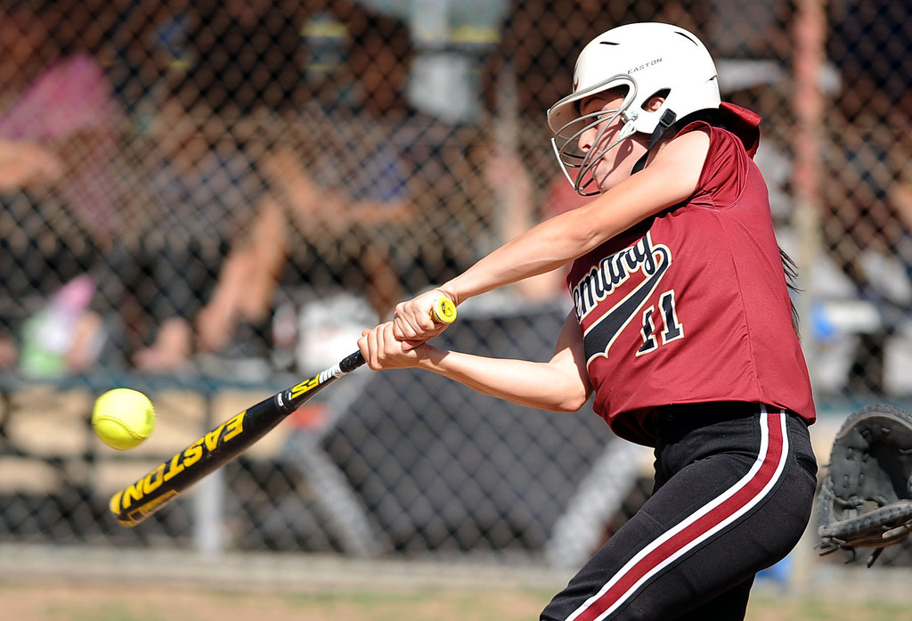 . Alemany\'s  Samantha Lopez connects for a hit against Notre Dame during their Mission League softball showdown in Encino, CA April 8, 2014.  Alemany won the game, 5-4.(Andy Holzman/Los Angeles Daily News)