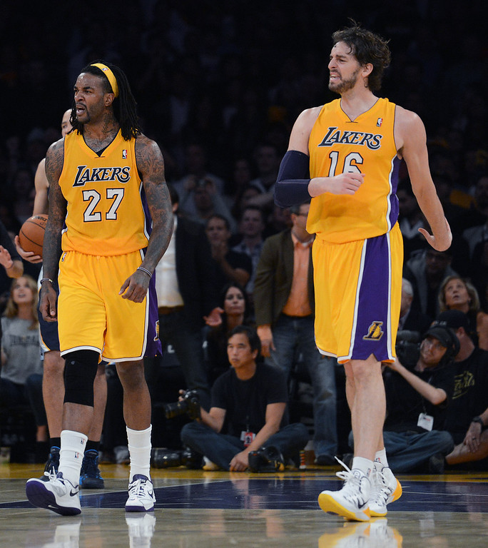. Lakers� Jordan Hill #27 and Pau Gasol #16 react during their game against the Grizzlies at the Staples Center in Los Angeles Friday, November 15, 2013. The Grizzlies beat the Lakers 89-86. (Photo by Hans Gutknecht/Los Angeles Daily News)