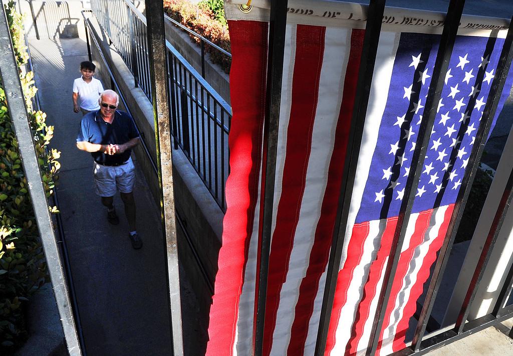. A voter entering First Baptist Church Fellowship hall on S. Encionitas Avenue in Monrovia Tuesday, June 3, 2014.(Photo by Walt Mancini/Pasadena Star-News)