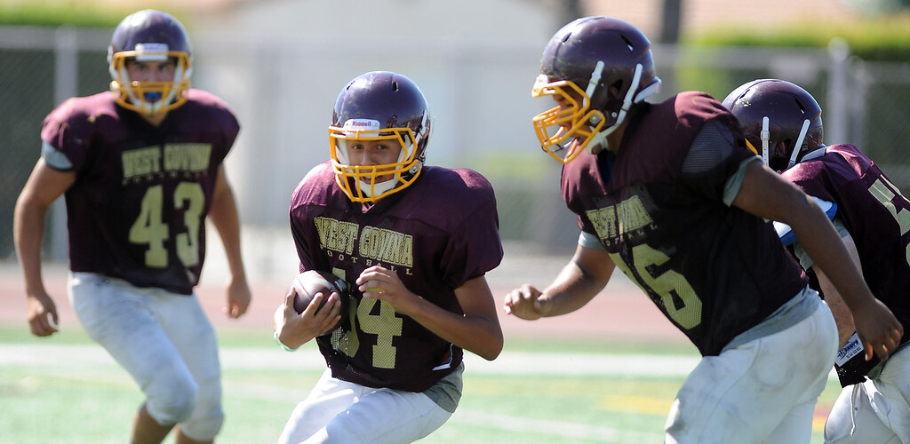 . West Covina football practice at West Covina High School on Tuesday, Aug. 20, 2013 in West Covina, Calif.   (Keith Birmingham/Pasadena Star-News)
