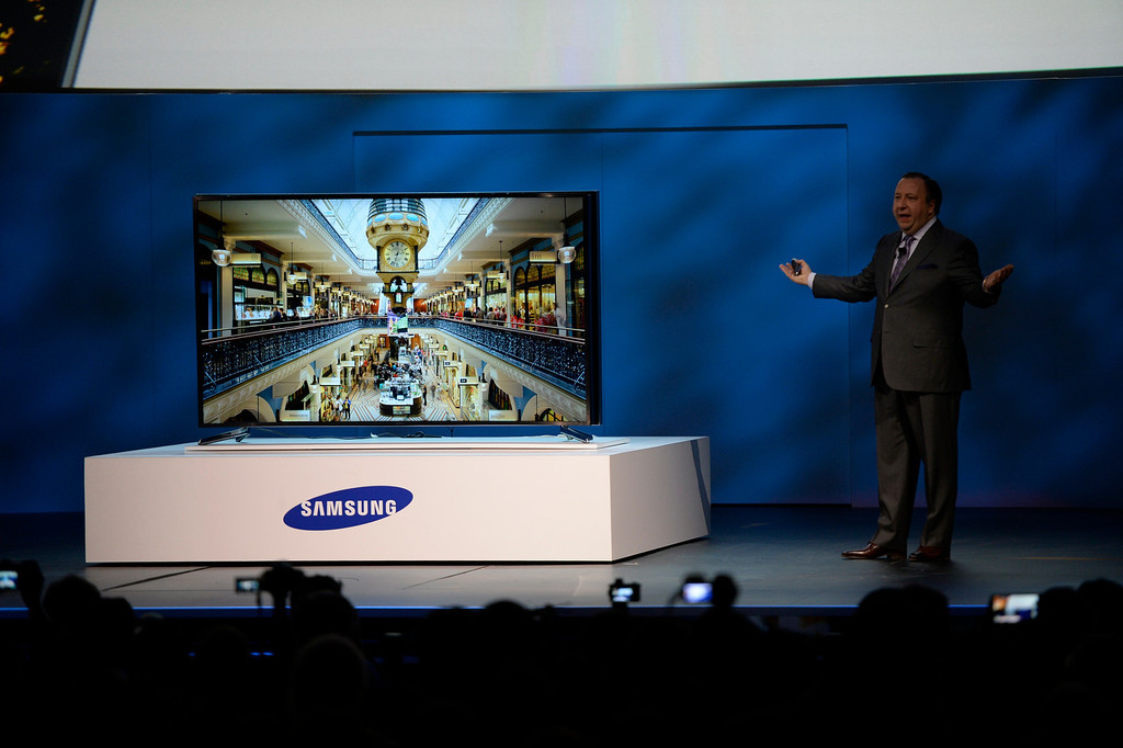 . Jan 6,2014.  Las Vegas NV. USA. Samsung executive vice president Joe Stinziano shows the new worlds first curved UHD TV, during Samsung Keynote during the 2014 CES media day show Monday. The 2014 CES show starts this Tuesday and runs till Friday with a estimated crowd of 150,000 to attend the show.. Photo by Gene Blevins/LA Dailynews