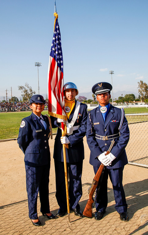 . The Air Force Junior ROTC is represented in part, by Corp Commander, Cynthia Montes, Flagman, Carlos Suarez and Logistics Commander, Joshua Diaz, at the graduation ceremony, at John H Francis Polytechnic High School, Sun Valley, Calif., June 7, 2013. Photo: Lynn Levitt.