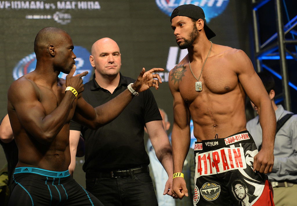 . Uriah Hall and Thiago Santos during weigh ins for UFC 175 at the Mandalay Bay Events Center July 4, 2014. (Photo by Hans Gutknecht/Los Angeles Daily News)