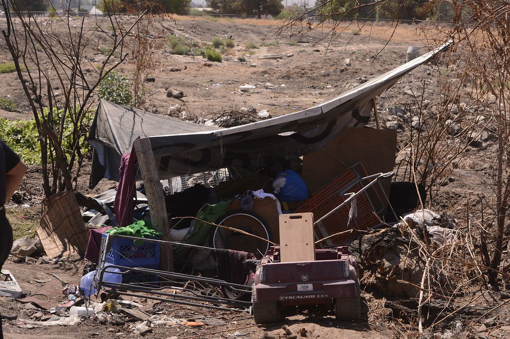 . A view of a homeless camp as seen in a vacant lot along Ninth Street in San Bernardino August 14, 2013. GABREL LUIS ACOSTA/STAFF PHOTOGRAPHER.