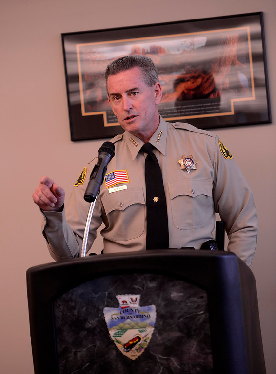 . San Bernardino County Sheriff John McMahon speaks during the dedication ceremony for the High Desert Public Safety Operations Center in Hesperia May 10, 2013.  GABRIEL LUIS ACOSTA/STAFF PHOTOGRAPHER.