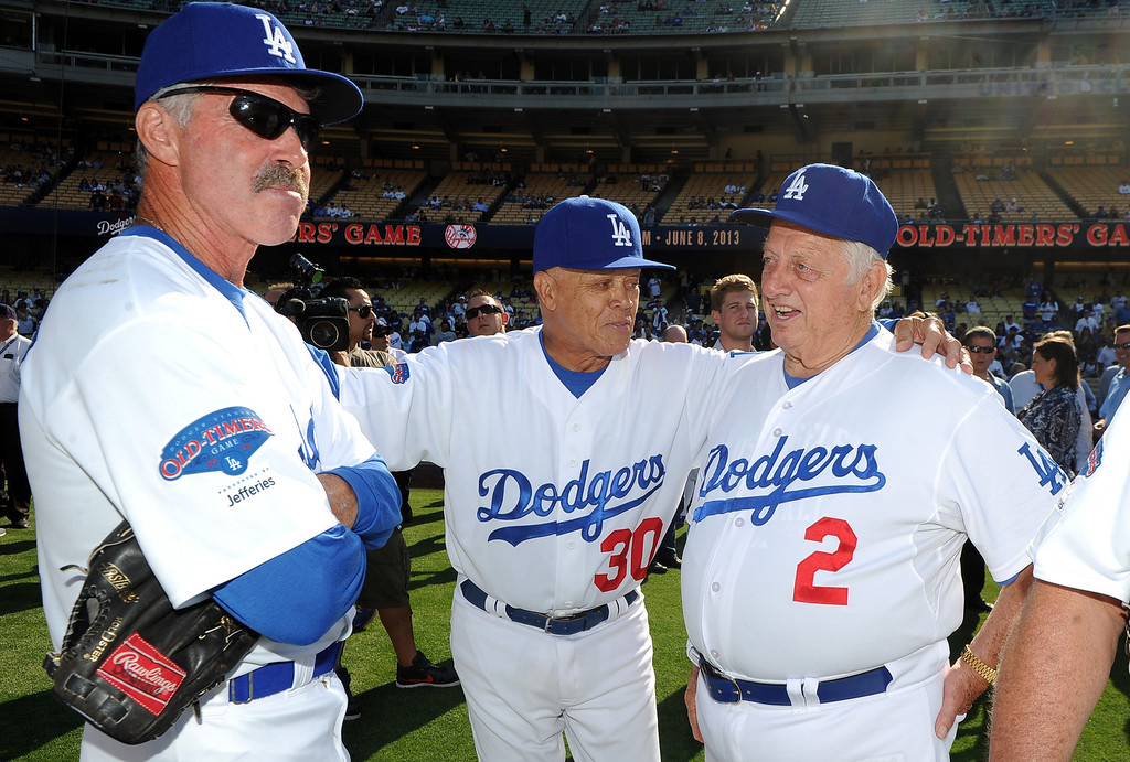 . Former Los Angeles Dodgers manager Tommy Lasorda, right, with Maury Wills (30) and Bill Buckner (22) during the Old-Timers game prior to a baseball game between the Atlanta Braves and the Los Angeles Dodgers on Saturday, June 8, 2013 in Los Angeles.   (Keith Birmingham/Pasadena Star-News)