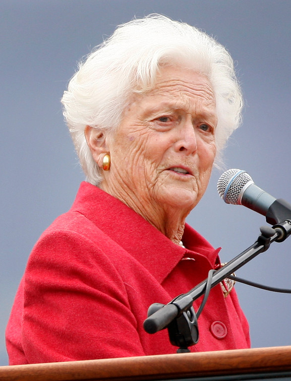 . In this  Oct. 3, 2008 file photo, former first lady Barbara Bush speaks at a dedication ceremony for the George and Barbara Bush Center at the University of New England, in Biddeford, Maine.  (AP Photo/Robert F. Bukaty, File)