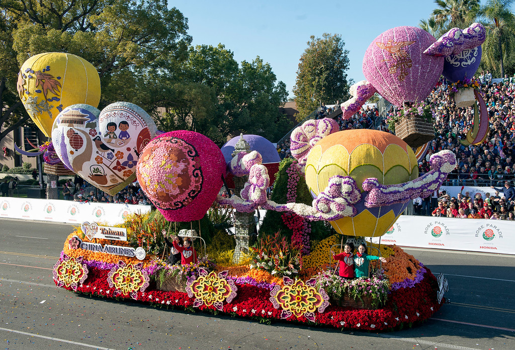 ". China Airlines LTD. ""Taiwan Dreams Rising\"" float during 2014 Rose Parade in Pasadena, Calif. on January 1, 2014. The float won International for most beautiful entry --outside of 50 United States and D.C. (Staff photo by Leo Jarzomb/ Pasadena Star-News)"