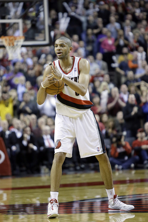 . Portland Trail Blazers forward Nicolas Batum, from France, is shown during the second half of an NBA basketball game against the Los Angeles Lakers in Portland, Ore., Monday, March 3, 2014.(AP Photo/Don Ryan)
