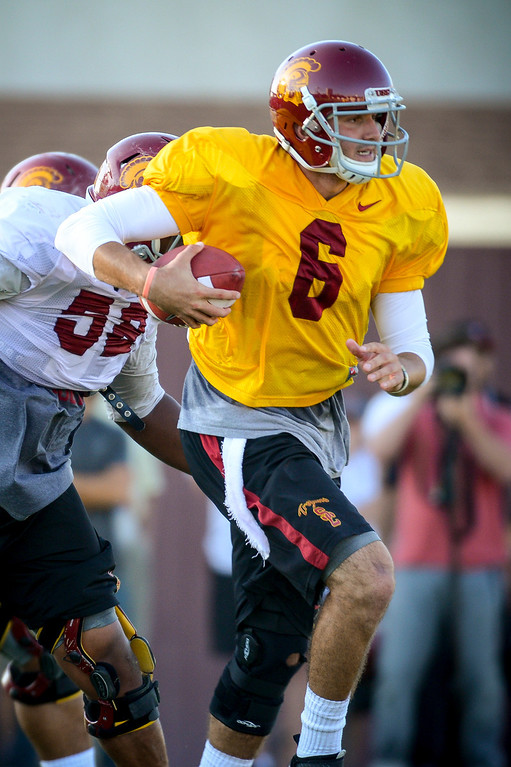 . USC�s Cody Kessler during spring practice at USC Tuesday, April 15, 2014.  (Photo by David Crane/Los Angeles Daily News.)