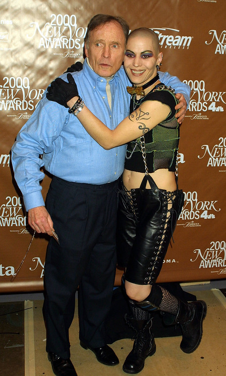 . Legendary talk show host Dick Cavett and rocker Joan Jett pose during The Fifth Annual New York Awards December 4, 2000 at Saturday Night Live Studio 8H at Rockefeller Center in New York City. (Photo by George De Sota/Newsmakers)