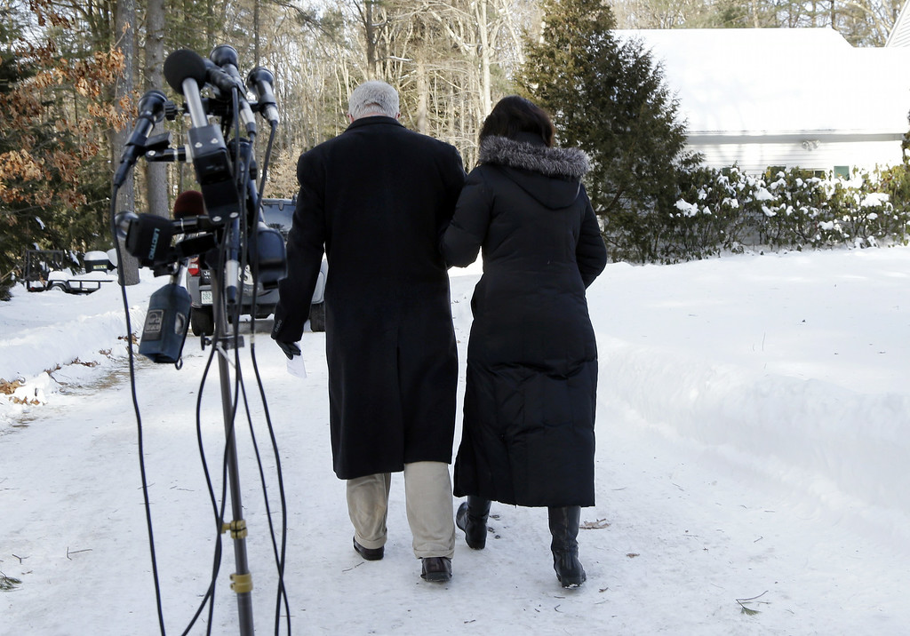. John and Diane Foley walk away after speaking about their son, James Foley, 39, a journalist who was kidnapped in Syria by unknown gunmen on Thanksgiving, after a news conference outside their home in Rochester, N.H., Thursday, Jan. 3, 2013.The Foleys are appealing to his captors for any information about his health and welfare. They said they have not received any information about him in six weeks. (AP Photo/Elise Amendola)