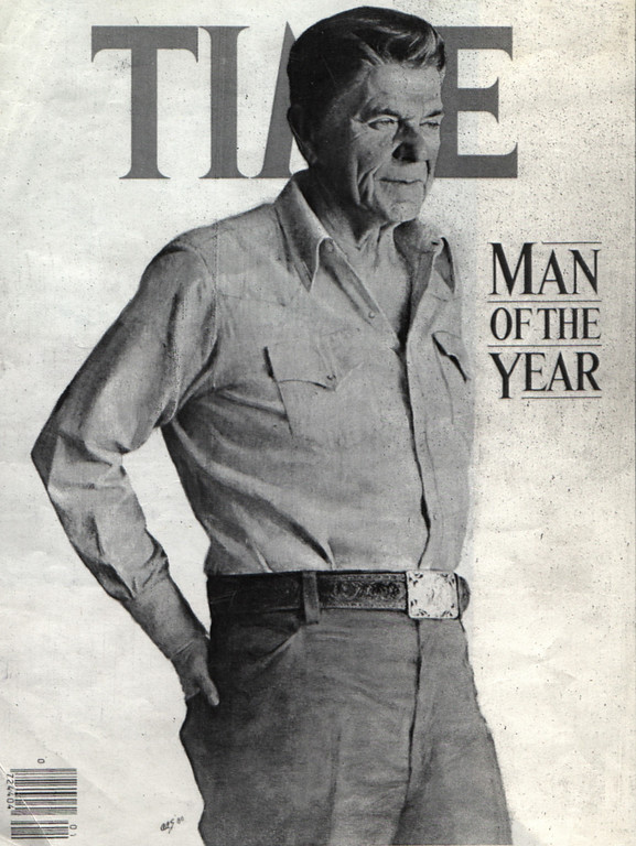 """. 12/28/80 - Washington: President-elect Ronald Reagan in the 1980 Time Magazine Man of the Year. Time announced that it had picked Reagan in part \""""for having risen so smoothly and gracefully to the most powerful and visible postion in the world.\"""" the announcement was made in 12/28/80 edition of the Washington Star, which is owned by Time.   (Los Angeles Daily News file photo)"""