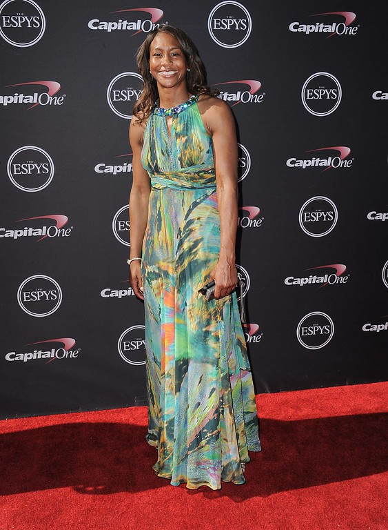 . Indiana Fever\'s Tamika Catchings arrives at the ESPY Awards on Wednesday, July 17, 2013, at Nokia Theater in Los Angeles. (Photo by Jordan Strauss/Invision/AP)