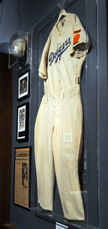 """. A jersey worn by Babe Ruth when he was a coach for the Brooklyn Dodgers is included in the \""""Baseball!\"""" exhibit.The Exhibition opens April 4, 2014 at the Ronald Reagan Presidential Library and Museum.  Running through September 4, 2014, Baseball is a 12,000 square foot exhibition featuring over 700 artifacts, including some of the rarest, historic and iconic baseball memorabilia.  (Photo by Dean Musgrove/Staff Photographer)"""