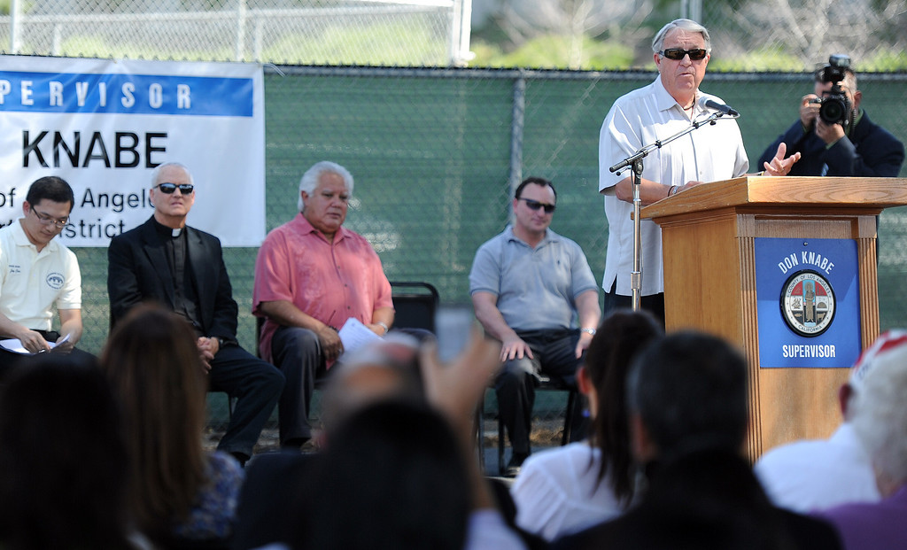 . Los Angeles County Supervisor Don Knabe speaks about the new Hacienda Heights Community Center at the former site of Hillgrove School on Thursday, March 2, 2013 in Hacienda Heights, Calif.    (Keith Birmingham Pasadena Star-News)