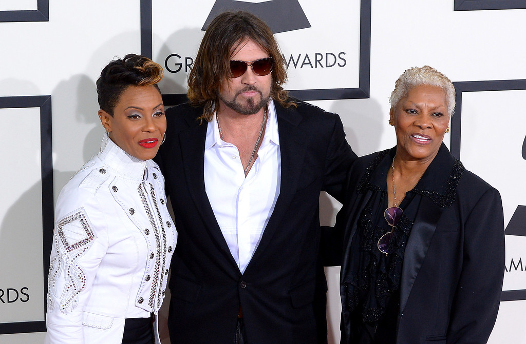 . MC Lyte, Billy Ray Cyrus and Dionne Warwick arrive at the 56th Annual GRAMMY Awards at Staples Center in Los Angeles, California on Sunday January 26, 2014 (Photo by David Crane / Los Angeles Daily News)