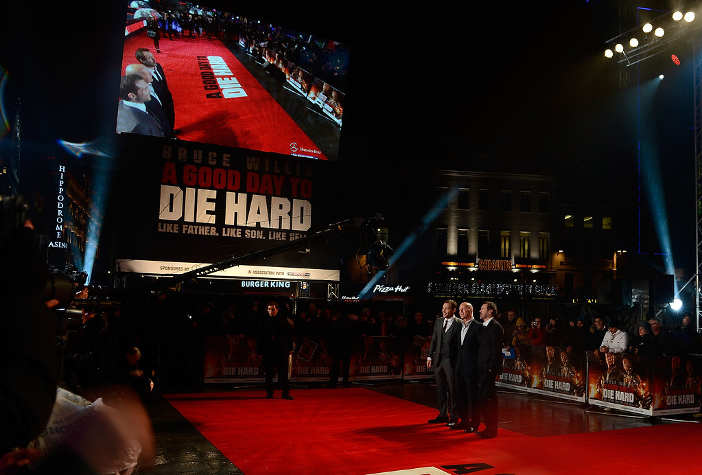 . LONDON, ENGLAND - FEBRUARY 07:  (L-R)  Jai Courtney, Bruce Willis and Sebastian Koch attend the UK Premiere of \'A Good Day To Die Hard\' at Empire Leicester Square on February 7, 2013 in London, England.  (Photo by Gareth Cattermole/Getty Images)   (Movie released on January 31, 2013)