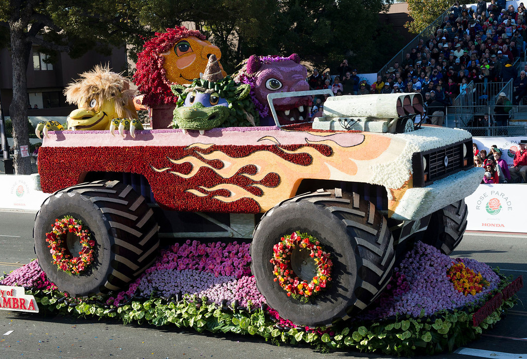 ". City of Alhambra ""Monster Truck\"" float during 2014 Rose Parade in Pasadena, Calif. on January 1, 2014. (Staff photo by Leo Jarzomb/ Pasadena Star-News)"